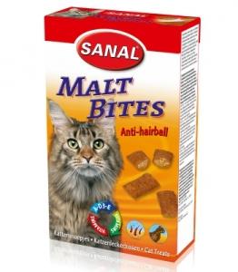 Sanal Хапки против космени топки за котки - Malt Anti-Hairball Bites