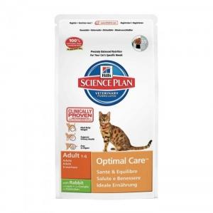 Hill's - Science Plan™ Feline Adult Optimal Care™ Rabbit - суха храна за котки от 1 до 7 годишна възраст, заешко, 10 кг