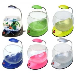 Hailea V-01 - аквариум колба с осветление 2.5 литра / сив, черен /