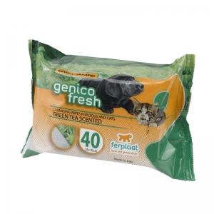 Ferplast Genco Fresh 40 Green Tea - почистващи мокри кърпички за кучета и котки с чаено масло, 40 броя