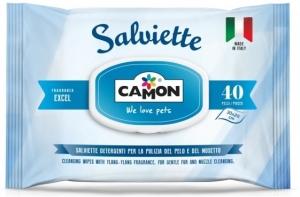 Camon Cleaning wipes Excel - мокри кърпички за кучета и котки с алое вера, 40 броя