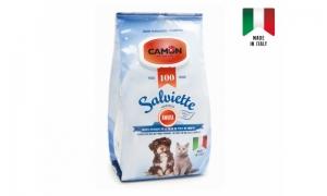 Camon Salviette - мокри кърпички за почистване на кучета и котки с аромат на кехлибар, 100 броя