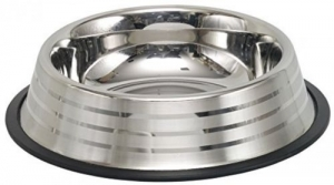 Nobby Stainless steel bowl Stripe anti slip Метална купичка райе с гумен кант - 1900 мл. /29 см.