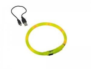 Nobby Lightning Dog collar Visible Жълт силиконов светещ нашийник - зареждане с USB 10 mm.