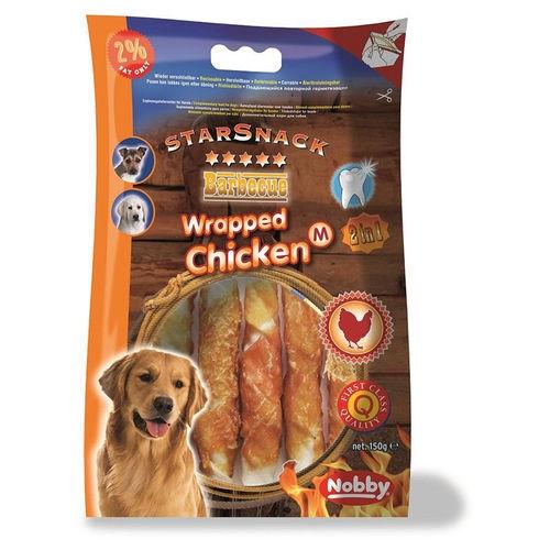 Nobby Starsnack Wrapped Chicken Деликатесно лакомство със сушено пилешко и телешко месо - 144 гр.