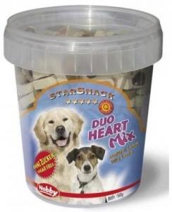 """Nobby StarSnack """"Duo Heart Mix"""" Деликатесно лакомство с пилешко, агнешко месо и масло от сьомга - 500 гр."""