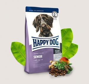 Happy Dog Senior - суха храна за кучета с пилешко и агнешко месо, новозеландски миди, L карнитин, билки, за средни и големи породи над 7 години, 12.5 кг.
