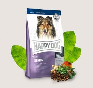 Happy Dog Senior Mini - суха храна за кучета с пилешко и агнешко месо, новозеландски миди, L карнитин, билки, за малки породи над 8 години, 1 кг.