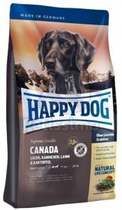 Happy Dog Supreme Sensible Canada - суха храна за кучета със сьомга, заешко и агнешко, и със зеленоуста мида, 12.5 кг.