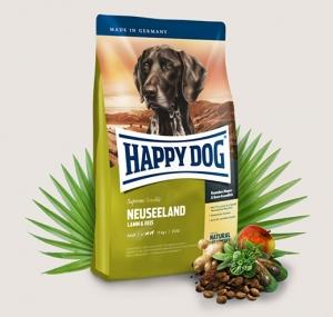 Happy Dog Supreme Neuseeland - суха храна с агнешко, екстракт от зеленоуста мида, билки, за кучета над 12 месеца, подходяща за средни и големи породи, 12.5 кг.