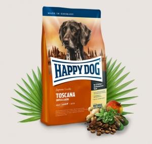 Happy Dog Supreme Toscana - суха храна с патешко, сьомга, билки, за кучета над 12 месеца, подходяща за всички породи ,12.5 кг.