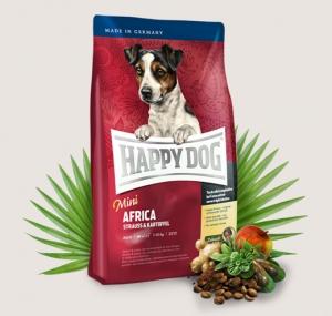 Happy Dog Supreme Mini Africa - суха храна с месо от щраус и картофи, за кучета над 12 месеца, малки и мини породи, 1 кг.