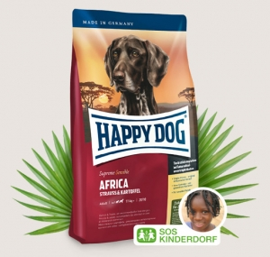 Happy Dog Supreme Africa - суха храна с месо от щраус и картофи, за кучета над 12 месеца, подходяща за всички породи 12.5 кг.
