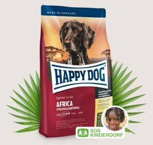 Happy Dog Supreme Africa - суха храна с месо от щраус и картофи, за кучета над 12 месеца, подходяща за всички породи, 4 кг.