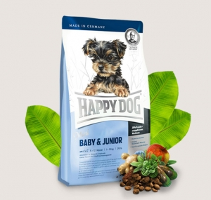Happy Dog Mini Baby Junior - храна за кучета с пилешко, агнешко и морска риба, за кучета мини и малки породи до 10 кг., и възраст от 1 до 12 месеца, 4 кг.