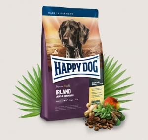 Happy Dog Supreme Irland - суха храна за кучета със сьомга, заешко и билки, за кучета над 12 месеца, подходяща за средни и големи породи, 12.5 кг.