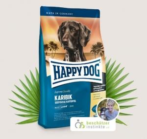 Happy Dog Supreme Karibik - суха храна с морска риба ,банани и картофи, за кучета над 12 месеца, подходяща за всички породи, 1 кг.