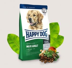 Happy Dog Adult Maxi - суха храна за кучета с пилешко, агнешко, говеждо, новозеландски миди, билки, омега 3, омега 6, за кучета големи и гигантски породи над 26 кг., и възраст над 18 месеца, 4 кг.