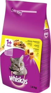 Whiskas Dry Chicken - храна за котки над 1 година с пилешко 1.4 кг