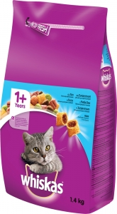 Whiskas Dry Tuna - суха храна с риба тон за котки над 1 година 1.4 кг