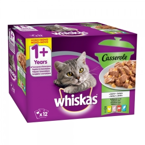 Whiskas Pouch Casserole Mix - пауч с избрани ястия микс 12 броя за котки над 1 година 12 x 85 гр