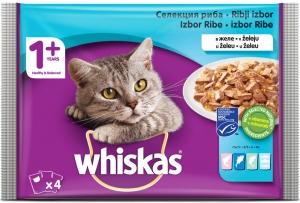 Whiskas Pouch Fish mix - микс от рибни паучове 4 x 100 гр