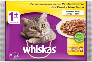 Whiskas Pouch - селекция птиче месо за котки над 1 година 4 x 100 гр