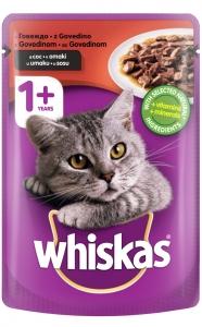 Whiskas Pouch Beef - пауч с говеждо месо за котки над 1 година, 100 гр