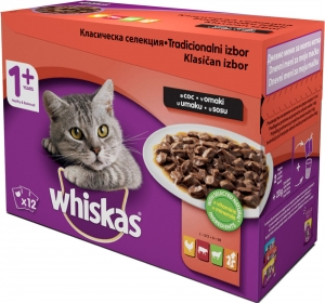 Whiskas Pouch - класическа селекция за котки над 1 година, 12 x 100 гр