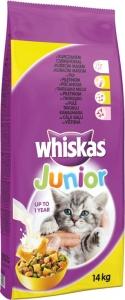 Whiskas Dry Chicken Junior - суха храна с пилешко за котки до 1 година, 14 кг