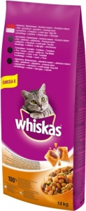 Whiskas Dry Beef - суха храна за котки над 1 година с говеждо , 14 кг