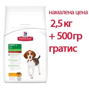 Hill's Science Plan Puppy Medium с пилешко – Пълноценна суха храна за средни породи кучета от отбиване до 1 година. За бременни и кърмещи кучета /с пилешко/. 3кг 1
