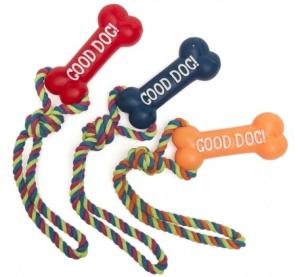 Camon Латексова играчка за кучета - винилов кокал с въже