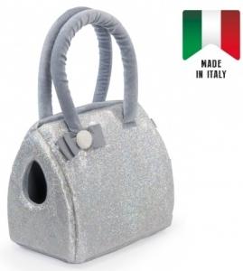 Camon Транспортна чанта от еко кожа за малки кученца - Сребърен блясък