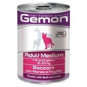 Gemon Chunks with Beef and Liver - Хапки с телешко и черен дроб за големи породи - опаковка 415 гр.