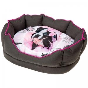 Ferplast Fiore 50 Sir Dog - меко легло за кучета и котки, 45 / 35 / 17 см. / сиво, черно /