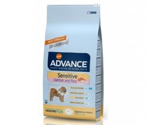 Advance Dog Sensitive Solomon and Rice - суха храна за чувствителни кучета над 12 месеца, средни и големи породи, 12 кг.