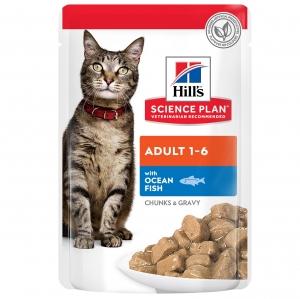 Hill's Science Plan Feline Adult пауч с океанска риба – малки късчета в сос Грейви за зрели котки 1-6 години 12 пауча по 0.085 гр 1