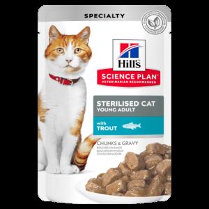 Hill's Science Plan Sterilised Cat Young Adult с пъстърва – малки късчета в сос Грейви за млади кастрирани котки от 6 мес.  до 6 год. 12 пауча х 0.085 гр 1