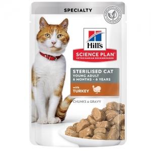 Hill's Science Plan Feline Sterilised Cat Young Adult пауч с пуйка - малки късчета в сос Грейви за млади кастрирани котки от 6 мес. до 6 год. 12 пауча х 0.085 гр 1