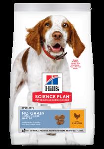 Hill's Science Plan Adult NO GRAIN – Пълноценна суха храна за кучета над 1 година, без зърнени култури, 14 кг. 1