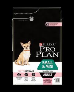 Purina Pro Plan Optiderma Аdult Small Mini Sensitive - суха храна за чувствителни кучета, мини и малки породи, над 12 месеца 1