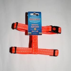 Миазоо Нагръдник от изкуствена оранжева лента Спорт Плюс със заключващ механизъм и светлоотразителни нишки - много голям, 25мм/65-100см