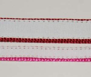 Миазоо Повод от изкуствена материя с копринена лента - 1.5/120см, бяло/вишнево червен