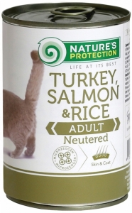 Nature's Protection Neutered Turkey, Salmon & Rice - консерва с пуйка и сьомга за кастрирани котки 6 x 400 гр.