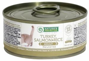 Nature's Protection Neutered Turkey, Salmon & Rice - консерва с пуйка и сьомга за кастрирани котки 24 x 100 гр.