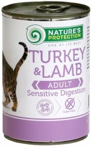 Nature's Protection Sensible Digestion Turkey & Lamb - консерва с пуйка и агнешко месо за котки с чувствителен стомах 6 x 400 гр.