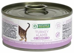 Nature's Protection Sensible Digestion Turkey & Lamb - консерва с пуйка и агнешко месо за котки с чувствителен стомах 24 x 100 гр.