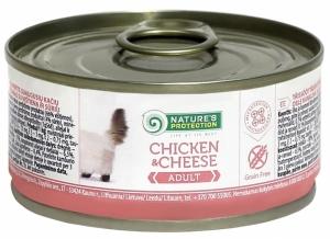 Nature's Protection Adult Chicken & Cheese - консерва с пилешко месо и сирене 24 x 100 гр.