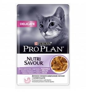 Pro Plan Nutri Savuor Delicate - суха храна за котки с чувствително храносмилане и чувствителна кожа (с пуйка в сос), 85 гр.